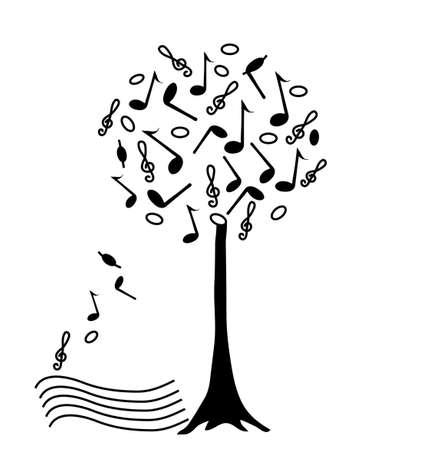 Music tree, illustration hand drawing Stock Illustration - 5157174