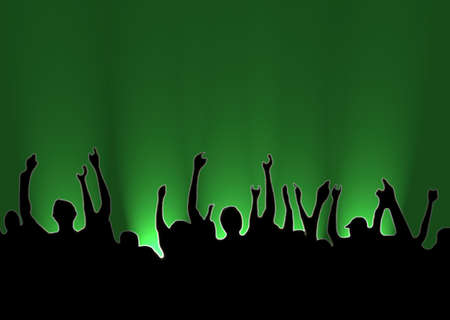 Illustration green Background silhouette Cheering People, Happy Audience, illustration