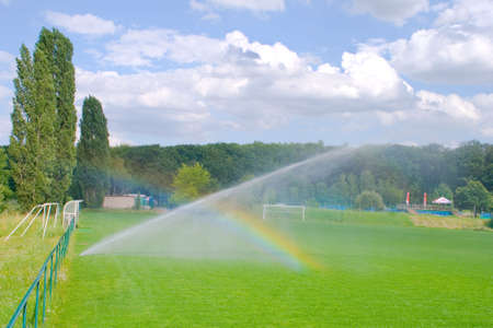Football pitch and rainbow photo