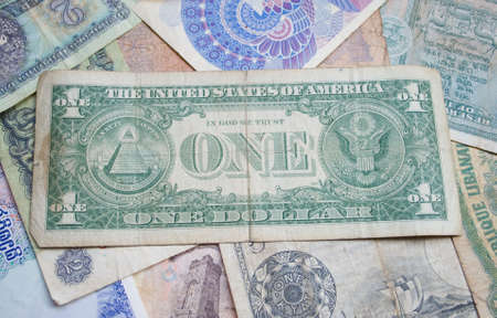 One dollar, versin 2. back page, Old paper background, world retro idle money, photo