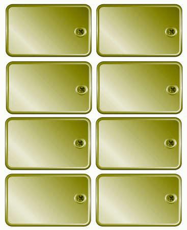 ferreteria: Metal Golg fijar las etiquetas de precios de tornillo para enmarcar el texto