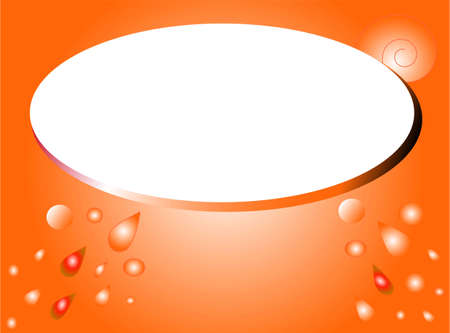 dewdrops: Orange water drops, abstract background with white oval blank place for your text