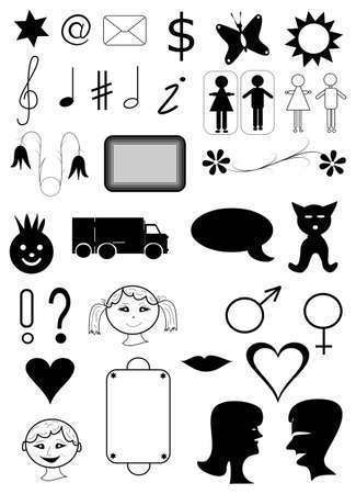 page mixture set black symbols for web, objects white isolated photo