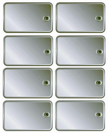 ferreteria: Metal plata establece el tornillo de etiquetas de precio al marco de texto