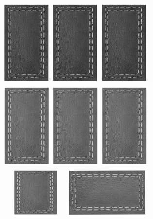 leather goods: Background, black price Tags,Scrapbook, page with objects white isolated Stock Photo