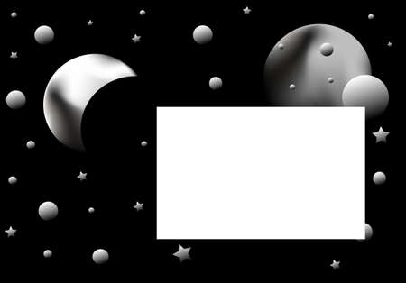 illustration black background, abstract planetarium , frame for text illustration