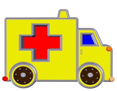 yellow ambulance, isolated photo