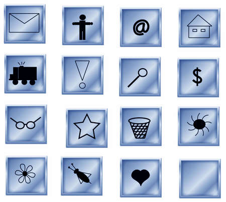 symbols collection blue butons, objects white isolated Stock Photo - 5520258