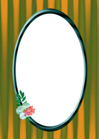 Photo frame and flowers, white oval place for your text Stock Photo - 5542928