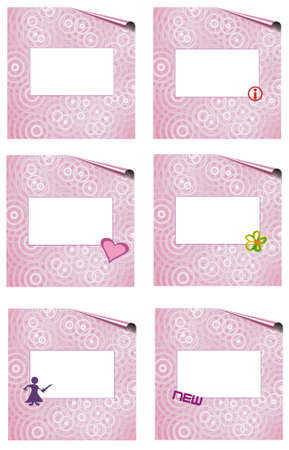 pink page set witk symbols, frames isolated, place for text Stock Photo - 5568190