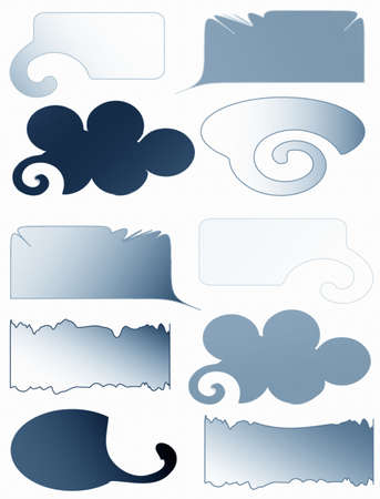 Glossy thinking blue bubbles , frames for your text photo