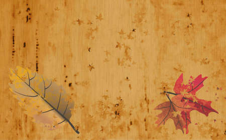 periods: Retro sepia parchment with autumn leaf designs, year periods