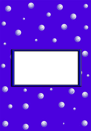 Blue background with bubbles , white frame for text photo