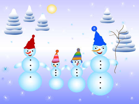 Card snowmen family in nature