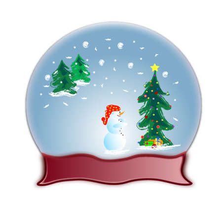 paperweight: An illustration of a glass dome snow globe and snowman, frame for text Stock Photo