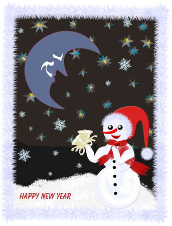sociable: Happy New Year 2009,illustrations Snowman with Christmas bells in the snow at night , 3D