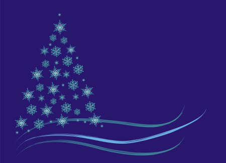 Winter abstract christmas tree spruce, blue space for text photo