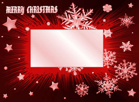 Red Merry Christmas, white frame for your text photo