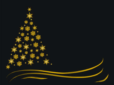 Winter night abstract christmas gold tree spruce, black background space for text