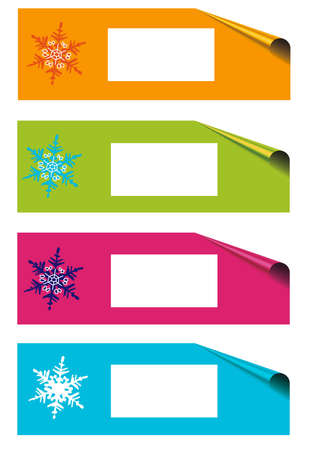 Christmas labels with corners, white isolated, frame for text photo