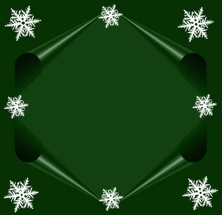 Green Postcard Merry Christmas with white stars , Frame for your text photo