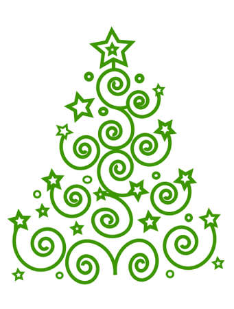 Christmas green tree from the spirals and stars, place for text, isolated,, vector Illustration