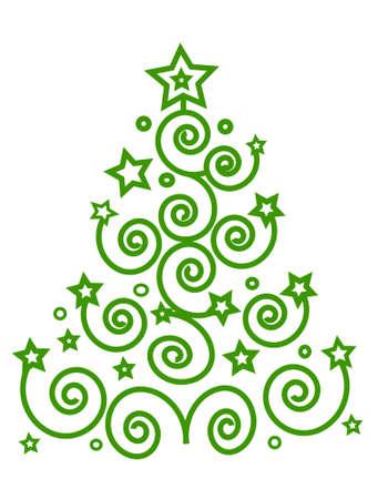 Rbol de Navidad verde de los espirales y estrellas, lugar para texto, aislado,, vector Foto de archivo - 6089869