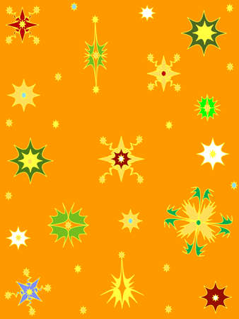 Orange background snowflakes Stock Vector - 6089887