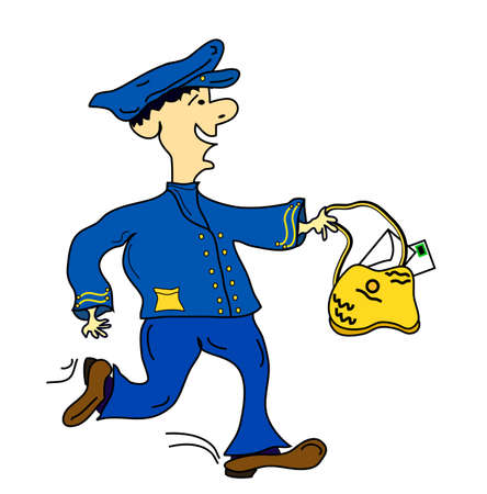 Active Blue Postman, object isolated, vector Vector
