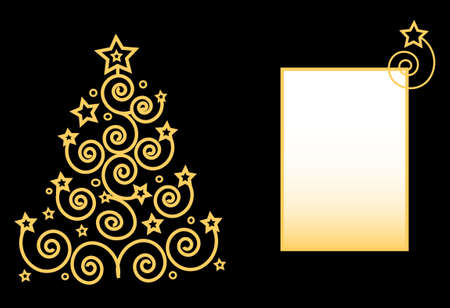 Merry Christmas tree from the spirals and stars frame for text Stock Vector - 6089881