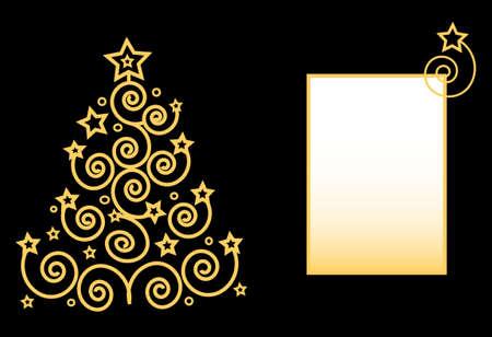 Merry Christmas Tree vom Spiralen und Sterne Rahmen für text  Standard-Bild - 6089881