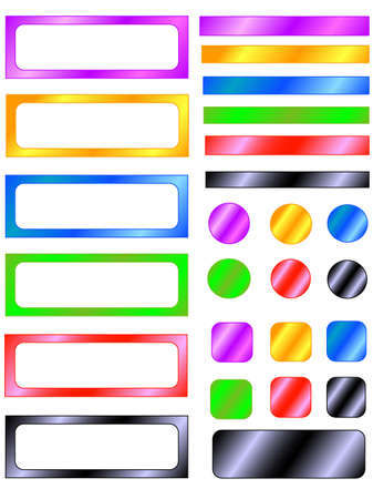 set colors sticky, objects white isolated, drawing gradient Illustration