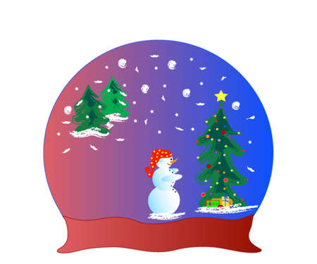 An illustration of a glass dome snow globe and snowman, frame for text. Vector