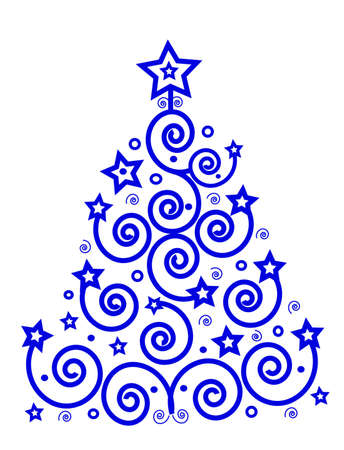 Christmas theme, blue tree from the spirals and stars, place for text, isolated Stock Photo