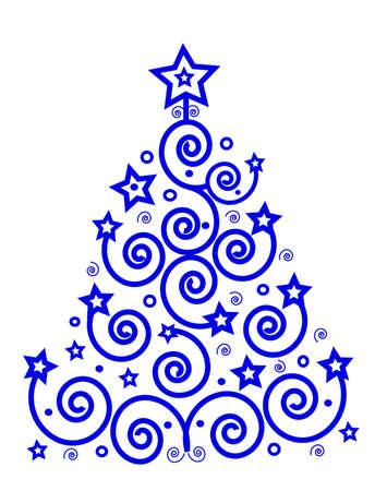 テーマは、青からクリスマス ツリー スパイラルと星は、分離されたテキストのための場所。ベクトル