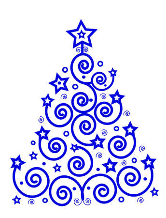 flakes: Christmas theme, blue tree from the spirals and stars, place for text, isolated. Vector Illustration