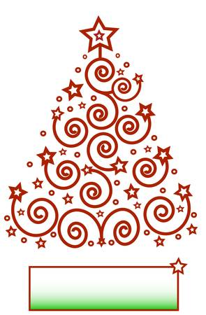 Christmas theme, red tree from the spirals and stars, frame for text, isolated. Vector