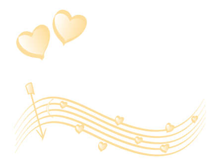yearning: Love theme, background gradient with  gold hearts, place for your text Stock Photo