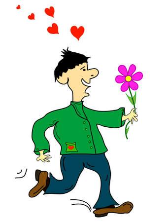 sehnsucht: Mann mit einer Blume, Vektor Illustration