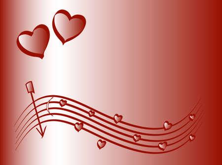 sehnsucht: Rotem Hintergrund, Liebe Motiv, Platz f�r Text, Vektor