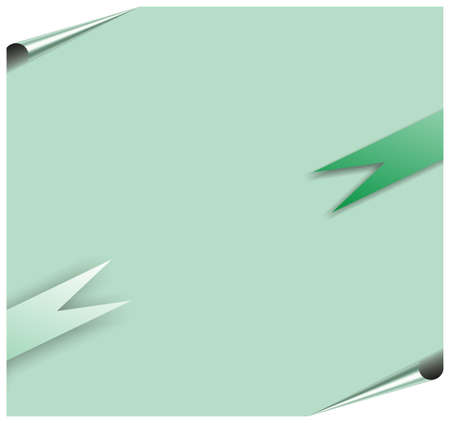 ribbon around blank green paper with corners, where you should write your text photo