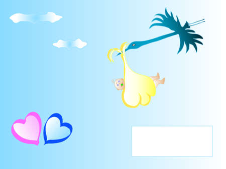 Cute cartoon stork carrying a newborn baby, frame for text Stock Vector - 6310283