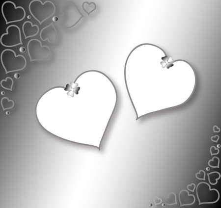 yearning: Two Valentines background, white hearts frame for your text Stock Photo