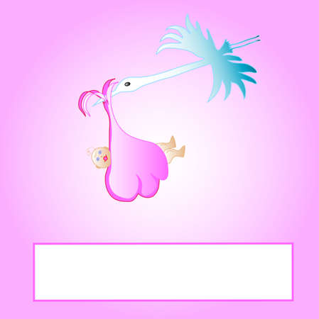 Cute pink cartoon stork carrying a newborn baby, frame for text