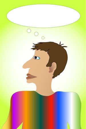 Hombres de caricatura de colores pensando solo, con burbuja de marco para pensamientos con texto por encima de su cabeza. Foto de archivo - 6449002