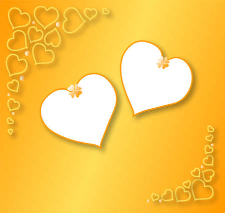 Two Hearts Valentines, gold background; white hearts frame for your text. Stock Photo