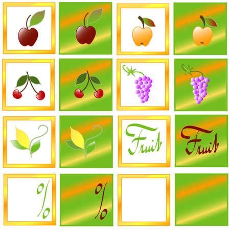 Set fruit labels, format square Stock Photo - 6441871