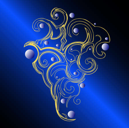 Blue abstract background with gold ornament in the shape of grape, vector Stock Vector - 6441861