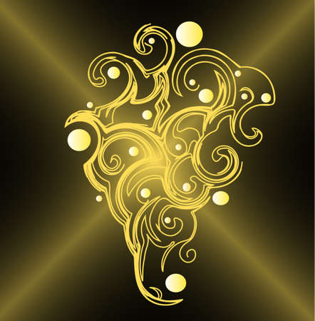 Abstract background with gold ornament in the shape of grape, vector Stock Vector - 6441860