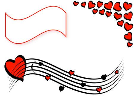 sehnsucht: Liebe Motiv mit Herzen, Valentinstag, Rahmen f�r Text, Vektor